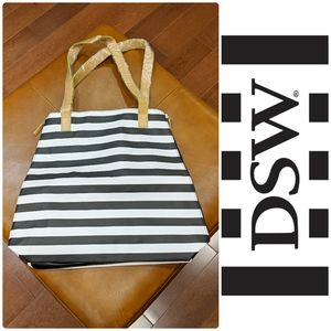 DSW Expandable Striped Vinyl Tote